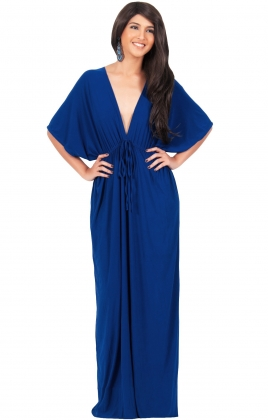 Royal Blue V Neck Long Club Dress With Belt 20569-2