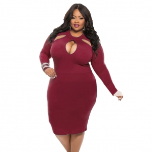 Plus Size Cut-Out Sexy Plain Bodycon Dress 23007-2