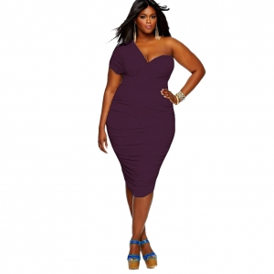 Plus Size One-Shoulder Sexy Ruched With Padded Bodycon Dress 23008-5