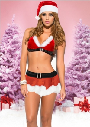 Santa Helper Sexy 2 Piece Costume for Christmas Carnival 23205