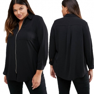 Loose Black Long Sleeve Shirt with Zipper 23707-1