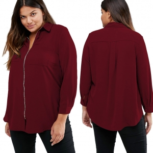 Loose Wine Red Long Sleeve Shirt with Zipper 23707-2