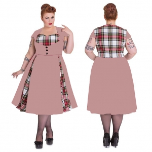 Plus Size Scottish Plaid Pink Maxi Dress 23713-1
