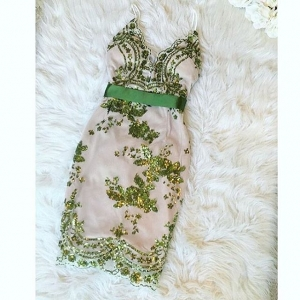Sexy Green Strapy Dress with Sequins Details 22102-3
