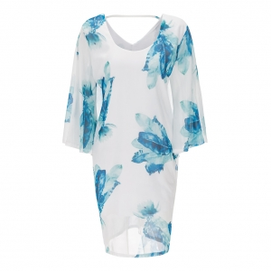 Plus Size Stylish Leaf Pattren Print Dress 22307-1