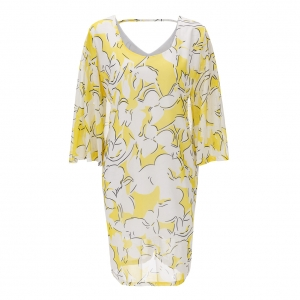 Plus Size Autumn Fahsion White and Yellow Pattren Print Club Dress 22307-2