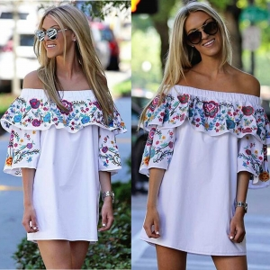 Boho Floral Ruffle Off the Shoulder Casual Dress 26039