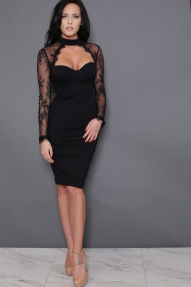 Sexy Patchwork Lace Wired Bandage Dress 23874-2
