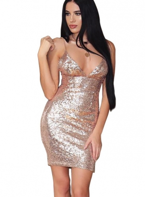 Sexy Sequins Gold Straps Party Dress 23885-1