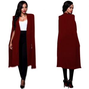Plus Size Occassional Red Long Blazer 23614-3