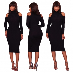 Cut Out Shoulder High Neck Sheath Dress 27874-1