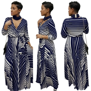 Sexy Stripped V-Neck Maxi Dress 28394-1