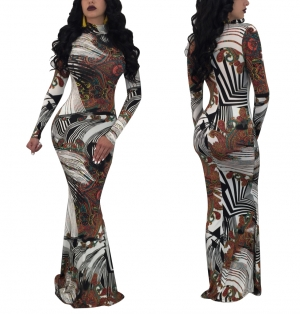 Sexy Long Sleeve Print Maxi Dress 28398