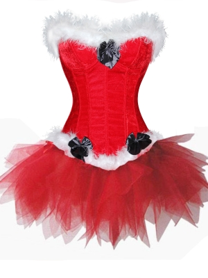 Santa Party Red Corset and Tutu Skirt