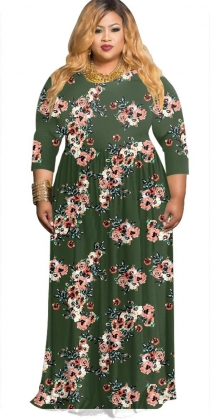 Plus Size Flower Maxi Dress with Sleeves