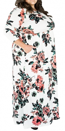 Plus Size Floral Long Dress with Sleeves