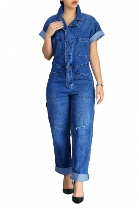 Short Sleeves Denim Jumpsuit with Collar SR_8788