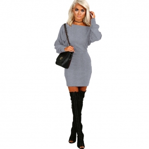 Solid Color Cotton Dress with Bat Sleeves 23975-2