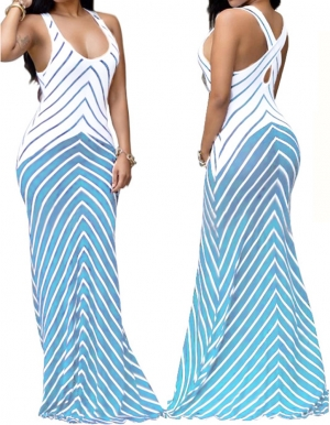Summer Stripes Back Cross Tank Maxi Dress 24988-1