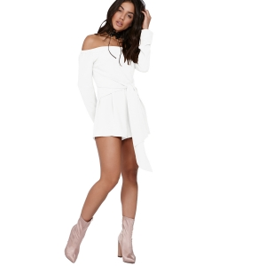Solid Off Shoulder Long Sleeve Tie Waist Playsuit 25302-2
