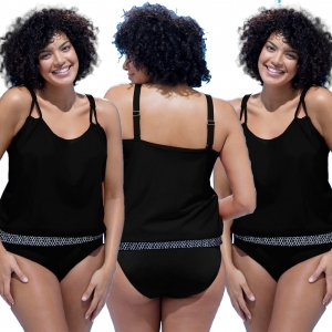 Black Strappy Two Piece Plus size Swimsuit 25550