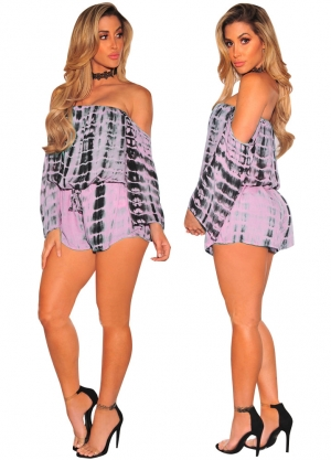 Ink Black Print off Shoulder Long Sleeve Playsuit 25634-2