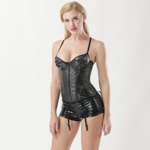 Sexy Wetlook Bustier Corset and Shorts 26437