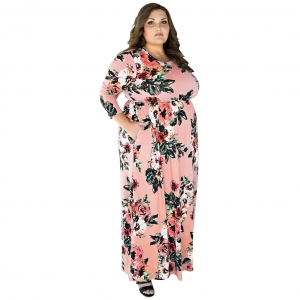 Plus Size Floral Maxi Dress 27029-3