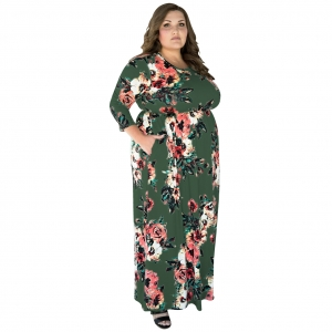 Plus Size Floral Maxi Dress 27029-6