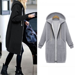 Plain Color Long Hoody Coat with Pockets 27116-2