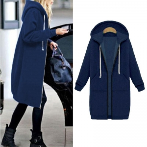 Plain Color Long Hoody Coat with Pockets 27116-4