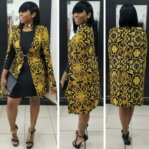 Gold and Black Retro Blazer for Party  27211-1