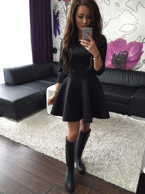 Solid Color Long Sleeve Round Neck Skater Dress  18460
