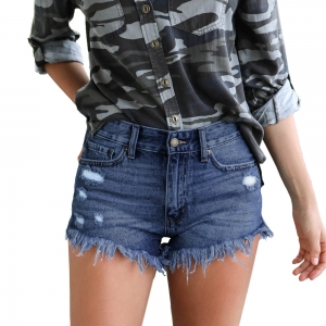 Blue Ripped Denim Shorts with Plush Trim