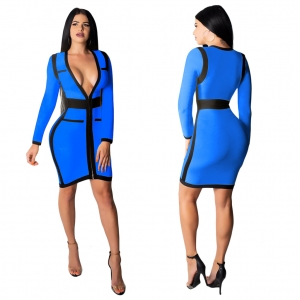 Zipped Up Contrast Bodycon Dress Deep-V Neckline