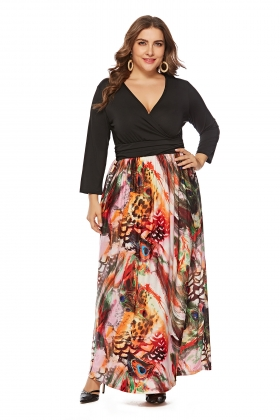 Sexy V-Neck Print Maxi Dress with Sleeves
