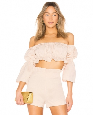 Two-Piece Ruffles Plain Shorts Set