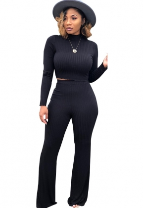Two-Piece Long Sleeve Crop Top and Wide Pants