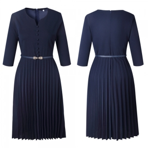 Plus Size Pleated A-line Dress with Mid Sleeves