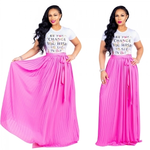 Sheer Pleated Maxi Skirt with Waist Belt