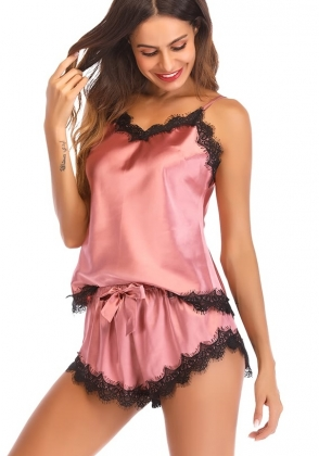Midnight Straps Top and Shorts with Lace Trim