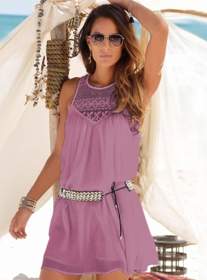 Hollow Out Sleeveless Short Beach Dress