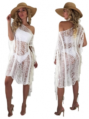 White Ripped Long Cover-Ups