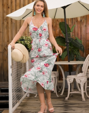 Seaside Flower Long Halter Dress