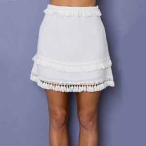 Plain Color Tassels Mini Skirt