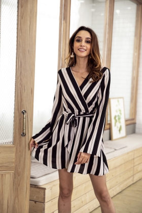 Long Sleeve Stripped Wrap Rompers