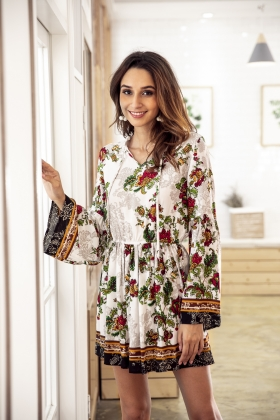 Long Sleeve Casual Floral Rompers