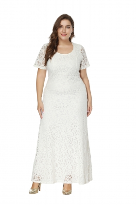 Short Sleeve Lace Maxi Dress