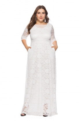 Plus Size Full Lace Maxi Dress with 3/4 Sleeves