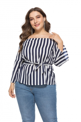 Plus Size Off Shoulde Strippes Top with Wide Cuffs
